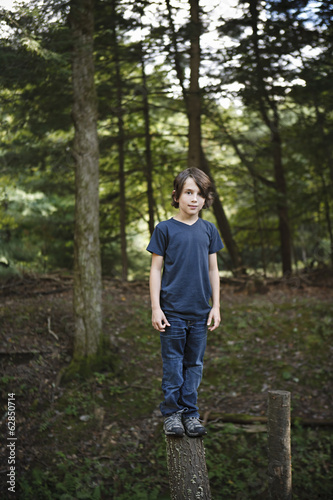 A boy standing on a narrow tree trunk, balancing and walking the plank.