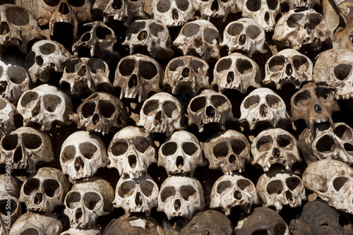 Skulls arranged in a head in Togo.