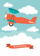 Illustration of a biplane in the clouds