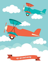 Illustration of biplanes in the clouds