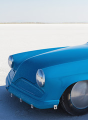 The bright blue bonnet of a custom race car at Speed Week on the Bonneville Salt Flats, in Utah.