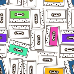 Seamless pattern of audio cassette tapes