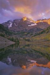 The Maroon Bells are two peaks in the Elk Mountains, Maroon Peak and North Maroon Peak, in the Maroon Bells-Snowmass Wilderness of White River National Forest, in Colorado.