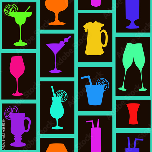 Seamless pattern of cocktails and drinks