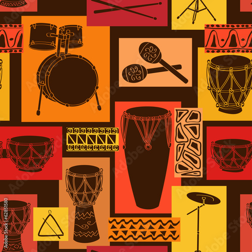 Musical seamless pattern of drum set