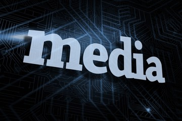Media against futuristic black and blue background