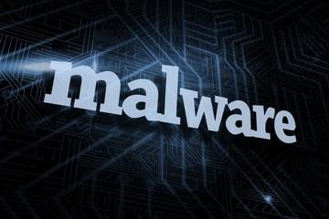 Malware against futuristic black and blue background
