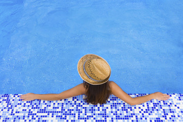 pool woman hat  relax