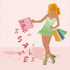Red hair woman with shopping bags, vector illustration