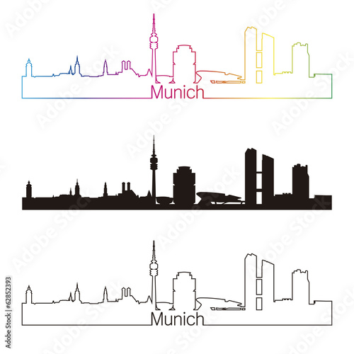 Munich skyline linear style with rainbow