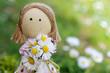 canvas print picture - Stoffpuppe mit Blumen zum Muttertag