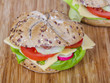 Vegetarian wholemeal sandwich roll