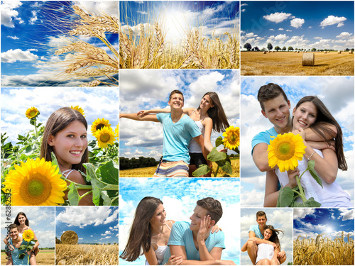 canvas print picture Collage: Junges, verliebtes Paar im Sommer :)