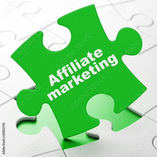Finance concept: Affiliate Marketing on puzzle background
