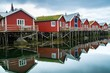 Traditional wooden houses on a water in norwegian village