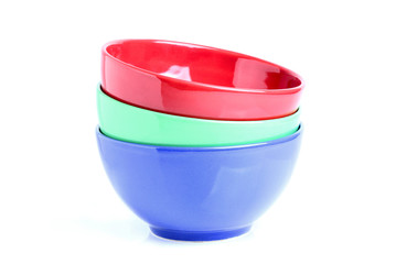 Three colored bowls.