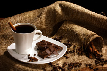 coffee and chocolate with spices