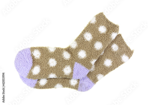 Warm Cozy Polka Dot Socks On White