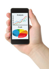 Man hand holds smart phone with graphs