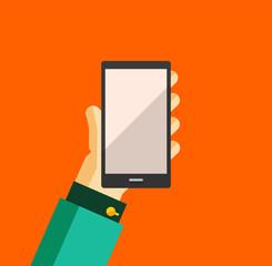 Hand holding smart phone trendy flat design