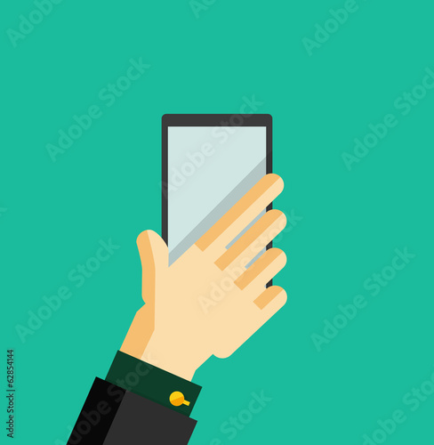 Hand holding smart phone trendy flat design
