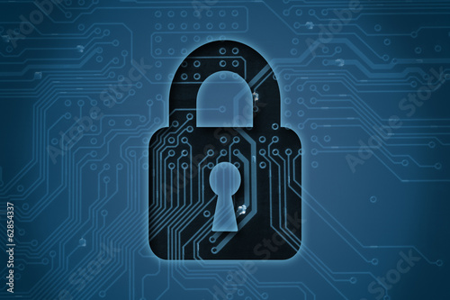 Closed lock on circuit background, security concept