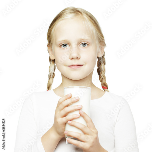 Young girl and milk glass, healthy eating concept