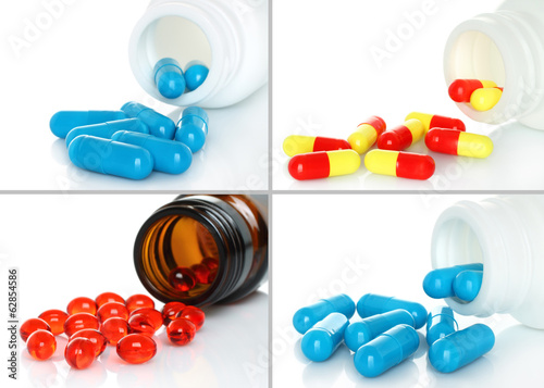Pills pouring from bottle set on white background