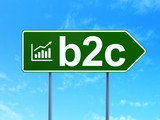 Business concept: B2c and Growth Graph on road sign background poster