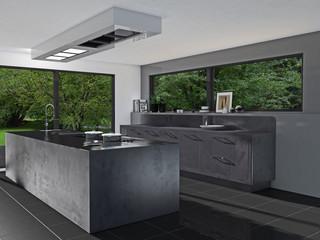 Küche in Edelstahl-Steinoptik