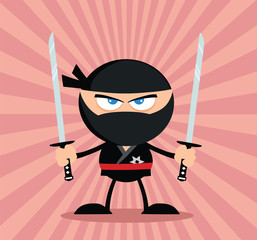 Angry Ninja Warrior Character With Two Katana.Flat Design