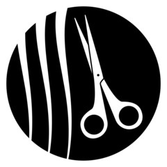 scissors with hairstyle - barber symbol