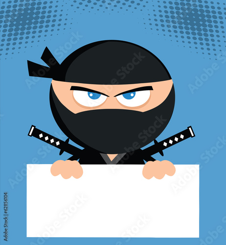Angry Ninja Cartoon Character Over Blank Sign.Flat Design