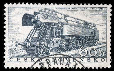 Stamp printed in Czechoslovakia showing 'Rady 477.0' Locomotive