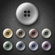Set of multicolored plastic shiny buttons, icons on denim