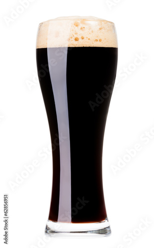Glass of dark beer isolated