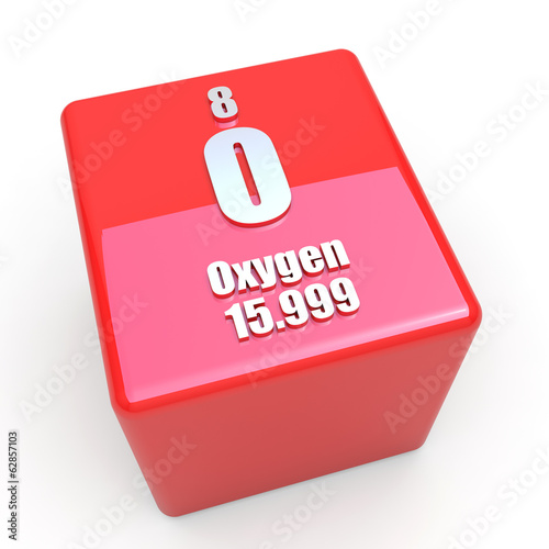 Oxygen symbol on glossy red cube