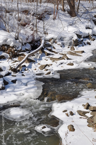 Icy water in the stream