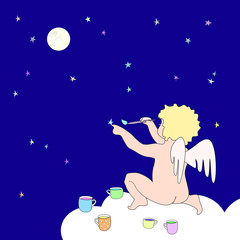 Funny little angel paint stars