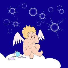 Funny little angel weep over soap-bubbles