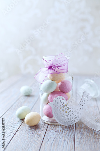 Marzipan Easter Eggs in a Glass Jar