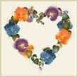 Greeting card with a bouquet of pansies. Decorative heart.