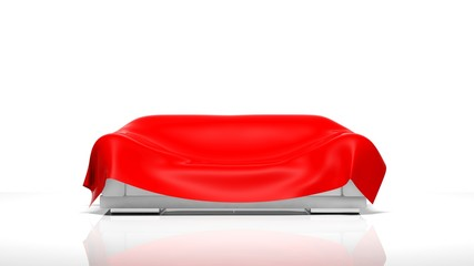 3D sofa with red cover isolated on white