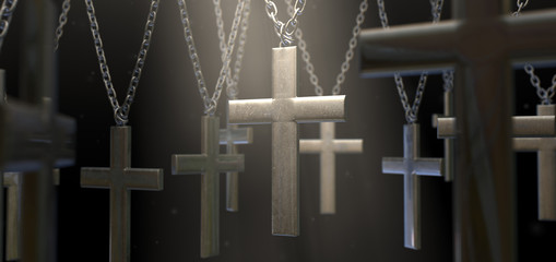 Hanging Metal Crucifixes