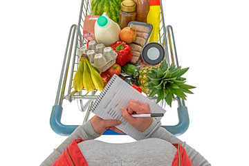 Overhead woman checking shopping list isolated