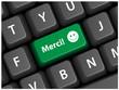 """Touche """"MERCI"""" sur Clavier (carte message remerciements bravo)"""