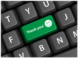 THANK YOU Key on Keyboard (thanks gratitude joy pleasure button) poster