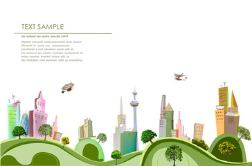 City collection, Modern city illustration
