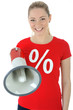 Twen in Sale-Shirt mit Megaphon