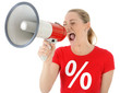Leinwanddruck Bild - Frau in Sale-Shirt schreit in Megaphon
